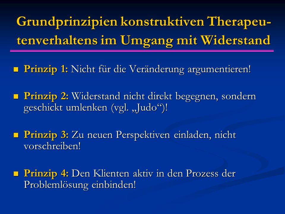Grundprinzipien konstruktiven Therapeu- tenverhaltens im Umgang mit Widerstand Prinzip 1: Nicht für die Veränderung argumentieren! Prinzip 1: Nicht fü