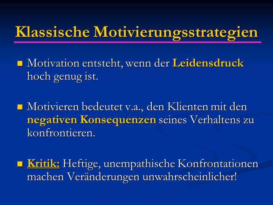 Klassische Motivierungsstrategien Motivation entsteht, wenn der Leidensdruck hoch genug ist. Motivation entsteht, wenn der Leidensdruck hoch genug ist