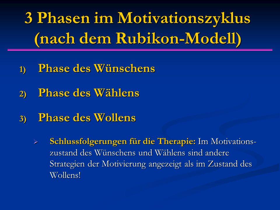 3 Phasen im Motivationszyklus (nach dem Rubikon-Modell) 1) Phase des Wünschens 2) Phase des Wählens 3) Phase des Wollens  Schlussfolgerungen für die