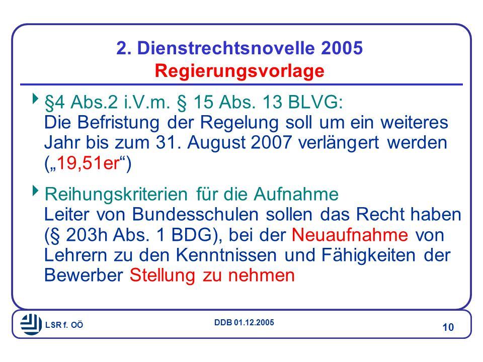 LSR f.OÖ DDB 01.12.2005 10 2. Dienstrechtsnovelle 2005 Regierungsvorlage  §4 Abs.2 i.V.m.