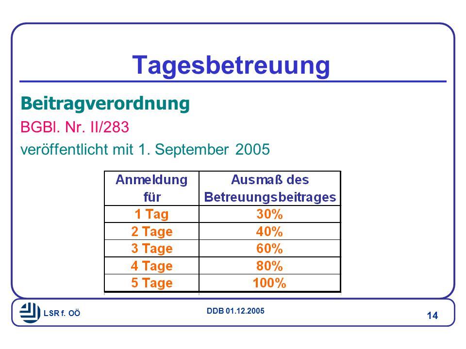 LSR f.OÖ DDB 01.12.2005 14 Tagesbetreuung Beitragverordnung BGBl.