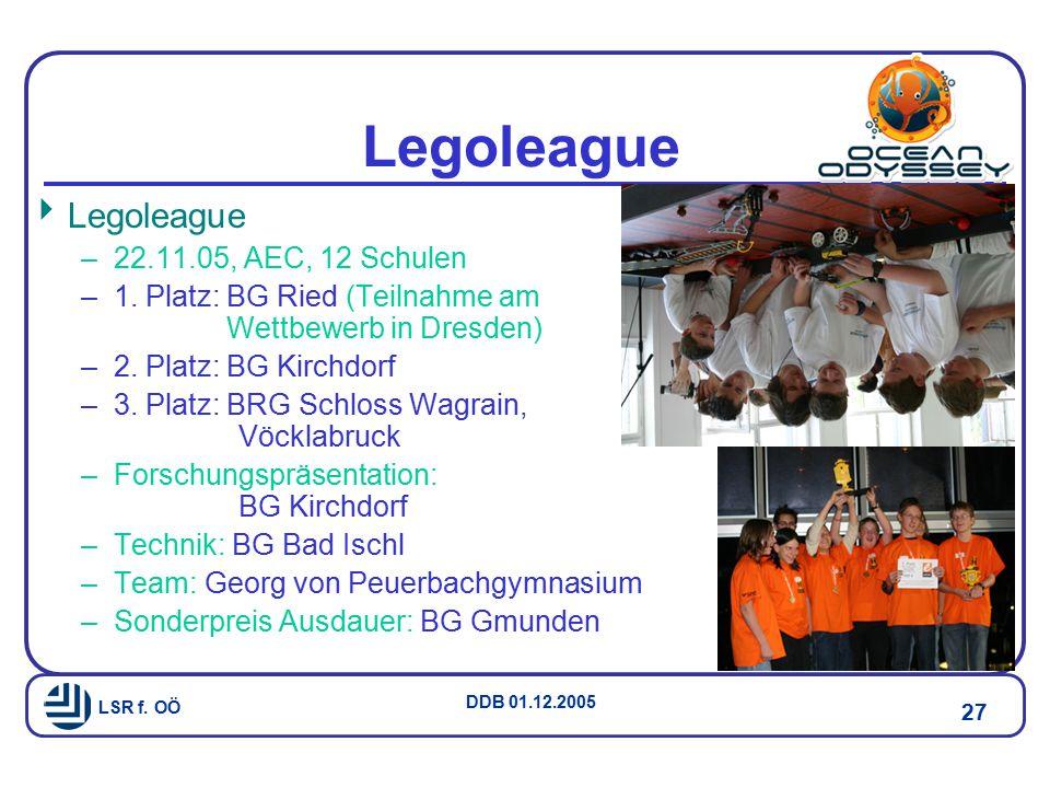 LSR f.OÖ DDB 01.12.2005 27 Legoleague  Legoleague –22.11.05, AEC, 12 Schulen –1.