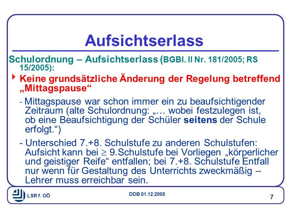 LSR f.OÖ DDB 01.12.2005 7 Aufsichtserlass Schulordnung – Aufsichtserlass ( BGBl.