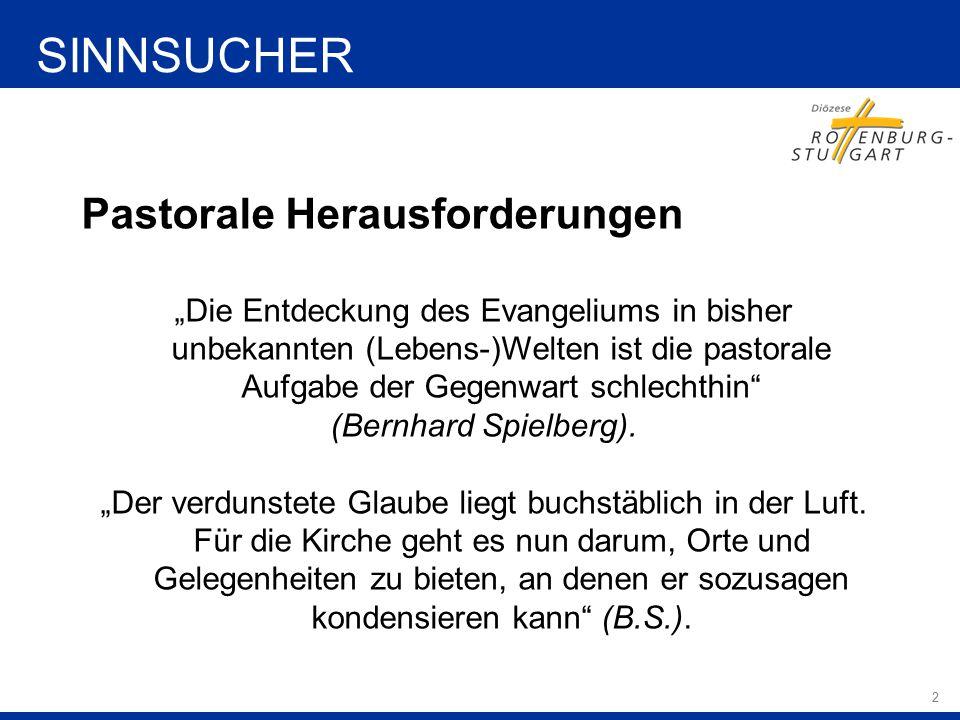 """2 Pastorale Herausforderungen """"Die Entdeckung des Evangeliums in bisher unbekannten (Lebens-)Welten ist die pastorale Aufgabe der Gegenwart schlechthin (Bernhard Spielberg)."""