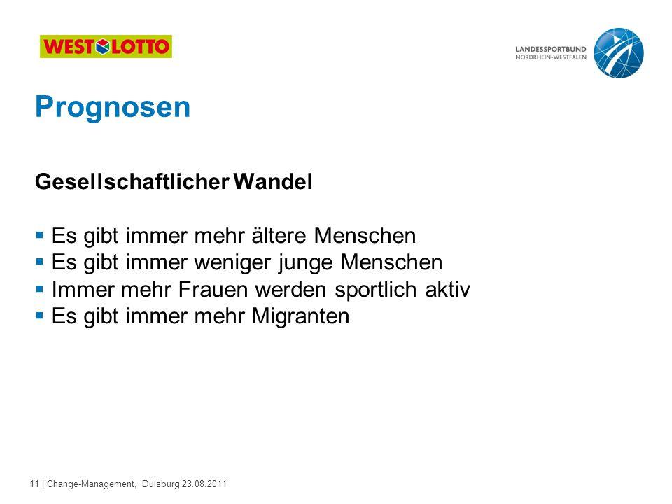 11 | Change-Management, Duisburg 23.08.2011 Prognosen Gesellschaftlicher Wandel  Es gibt immer mehr ältere Menschen  Es gibt immer weniger junge Men
