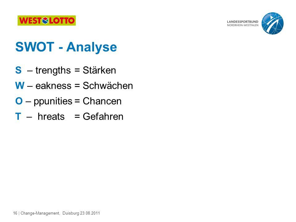 16 | Change-Management, Duisburg 23.08.2011 SWOT - Analyse S – trengths= Stärken W – eakness= Schwächen O – ppunities= Chancen T – hreats= Gefahren