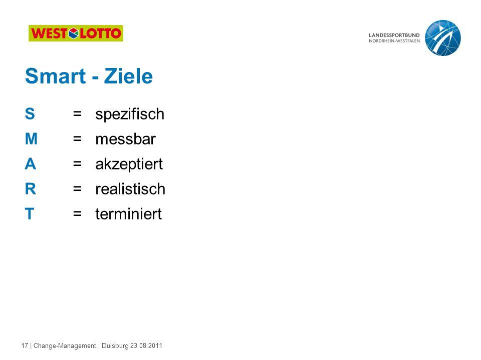 17 | Change-Management, Duisburg 23.08.2011 Smart - Ziele S = spezifisch M = messbar A = akzeptiert R = realistisch T = terminiert