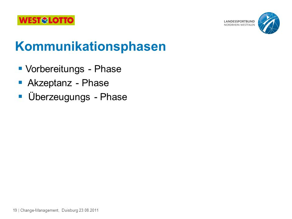19 | Change-Management, Duisburg 23.08.2011 Kommunikationsphasen  Vorbereitungs - Phase  Akzeptanz - Phase  Überzeugungs - Phase