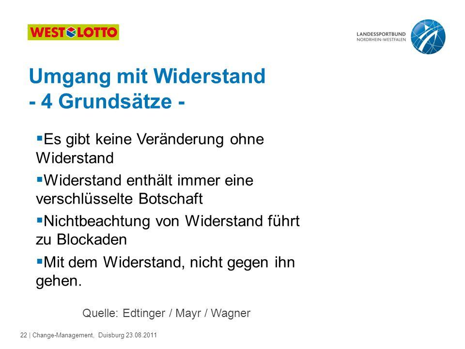 22 | Change-Management, Duisburg 23.08.2011 Umgang mit Widerstand - 4 Grundsätze -  Es gibt keine Veränderung ohne Widerstand  Widerstand enthält im