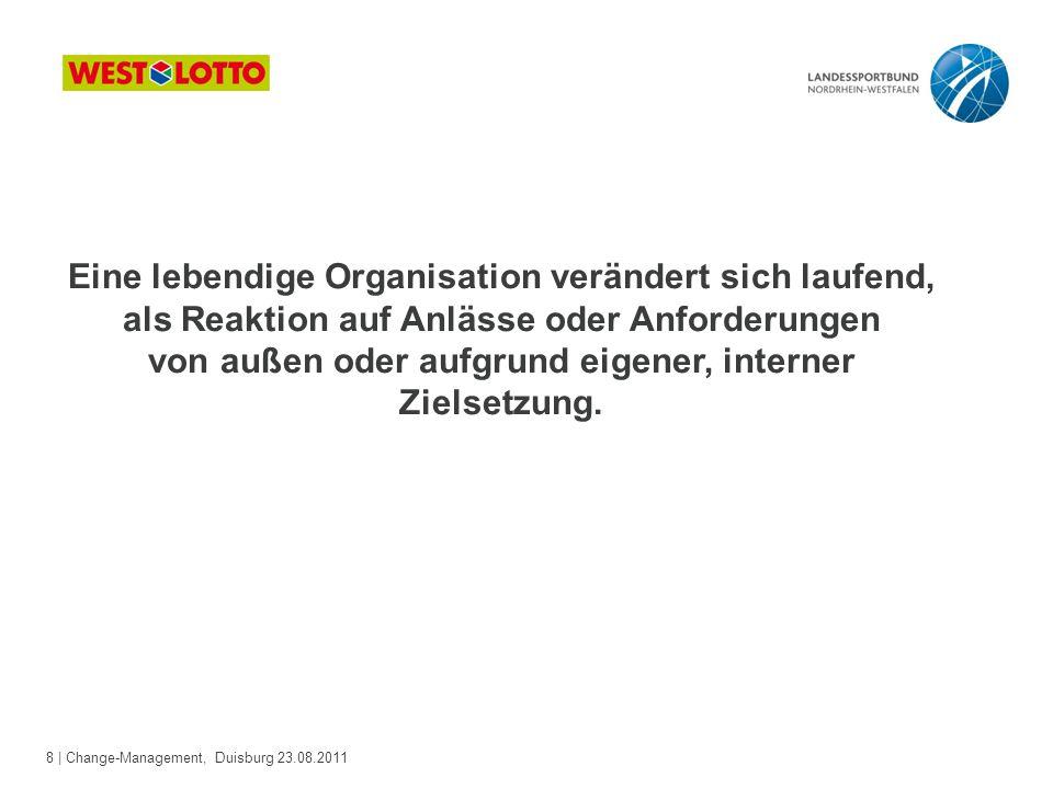 8 | Change-Management, Duisburg 23.08.2011 Eine lebendige Organisation verändert sich laufend, als Reaktion auf Anlässe oder Anforderungen von außen o