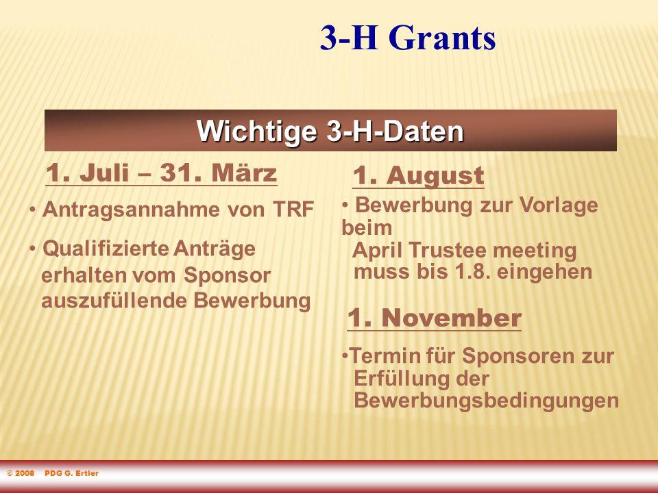 3-H Grants Wichtige 3-H-Daten Antragsannahme von TRF Qualifizierte Anträge erhalten vom Sponsor auszufüllende Bewerbung 1.