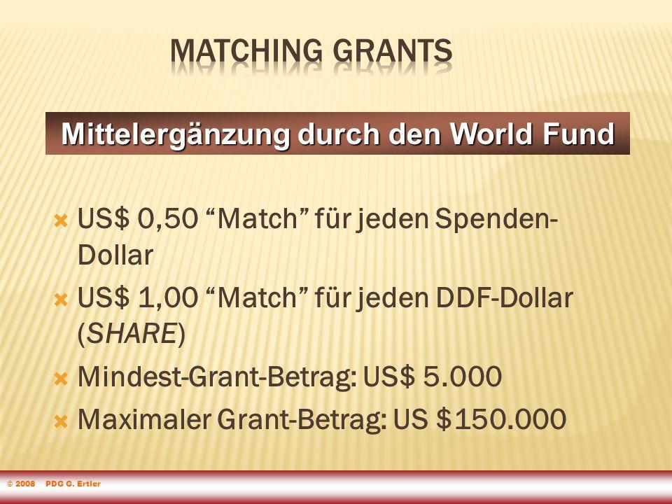  US$ 0,50 Match für jeden Spenden- Dollar  US$ 1,00 Match für jeden DDF-Dollar (SHARE)  Mindest-Grant-Betrag: US$ 5.000  Maximaler Grant-Betrag: US $150.000 Mittelergänzung durch den World Fund © 2008 PDG G.