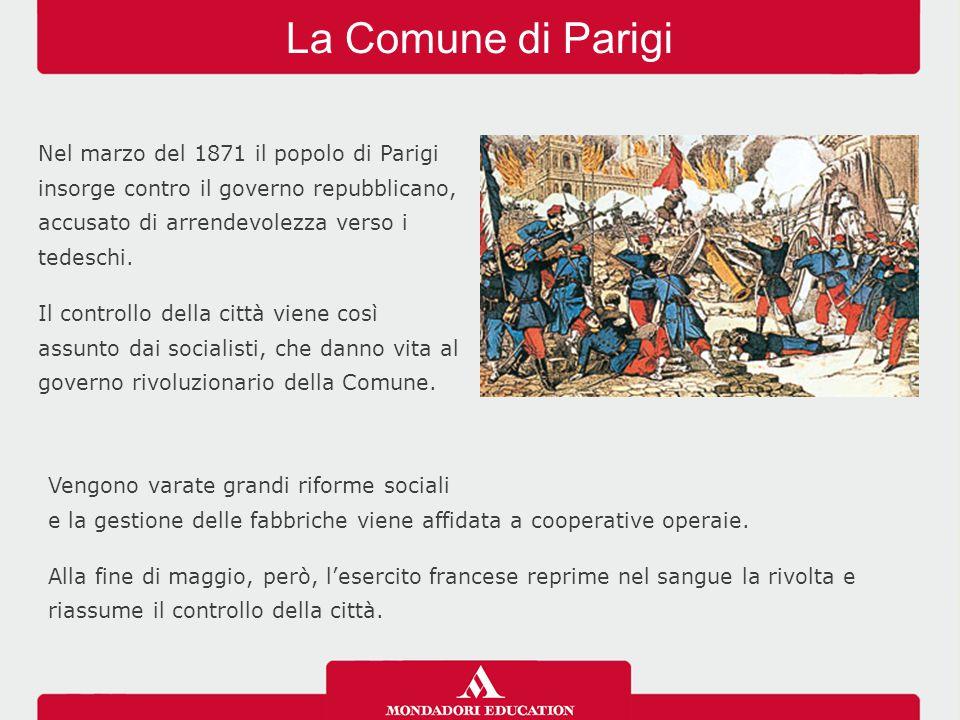 La Comune di Parigi Nel marzo del 1871 il popolo di Parigi insorge contro il governo repubblicano, accusato di arrendevolezza verso i tedeschi. Il con