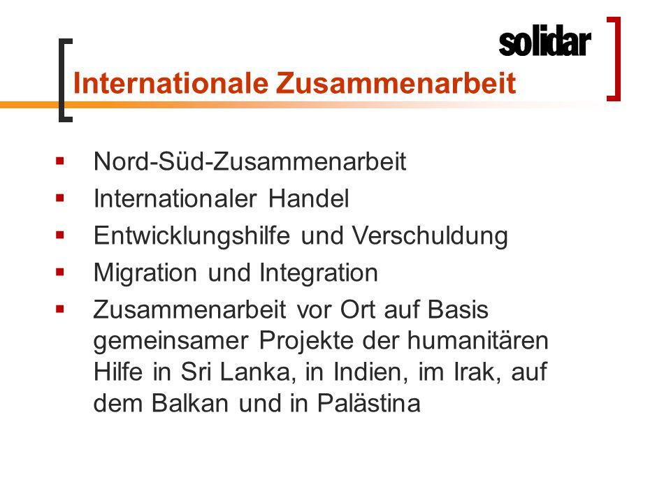 Internationale Zusammenarbeit  Nord-Süd-Zusammenarbeit  Internationaler Handel  Entwicklungshilfe und Verschuldung  Migration und Integration  Zu