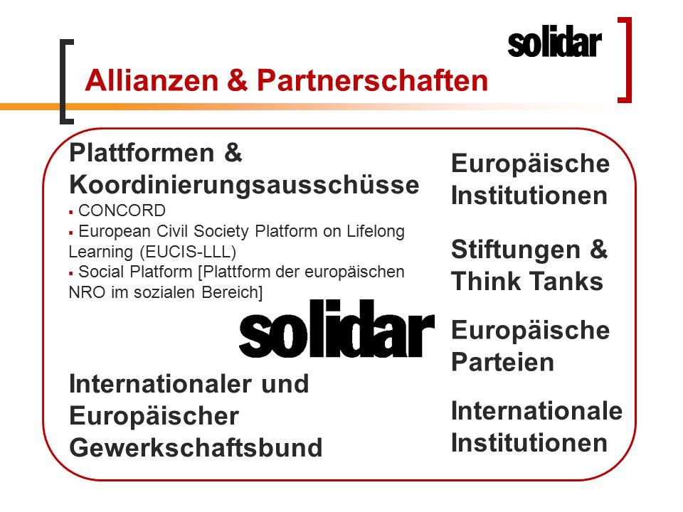 Allianzen & Partnerschaften Europäische Parteien Plattformen & Koordinierungsausschüsse  CONCORD  European Civil Society Platform on Lifelong Learni
