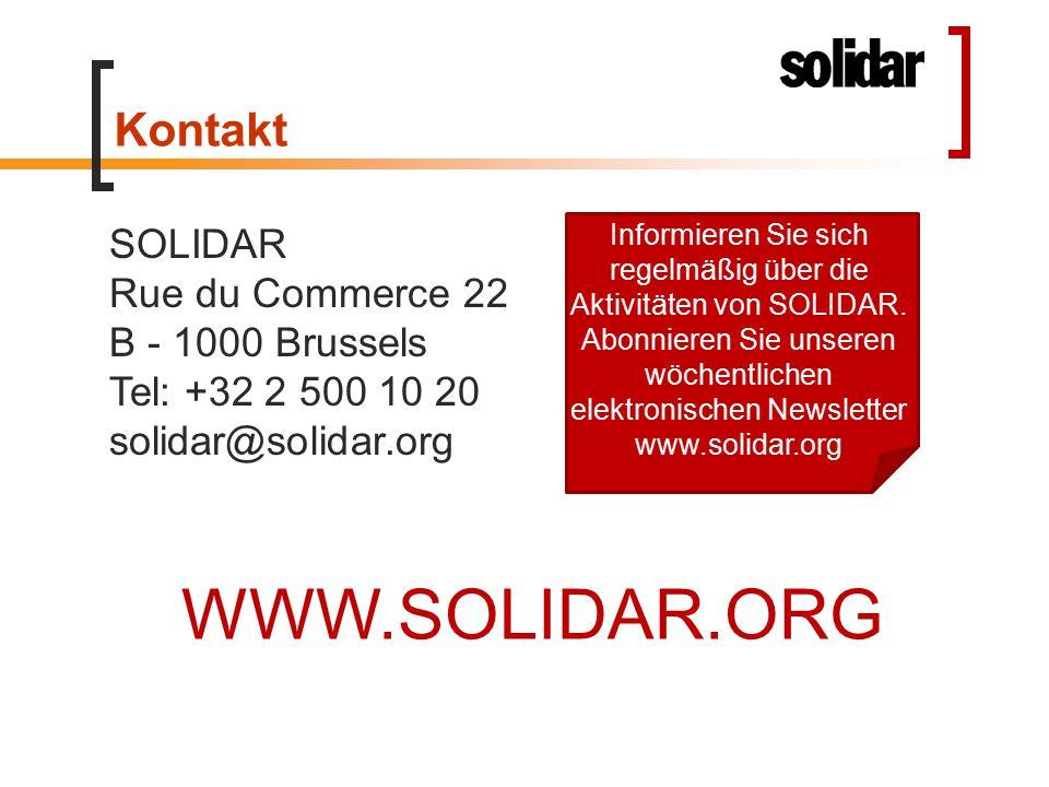 Kontakt SOLIDAR Rue du Commerce 22 B - 1000 Brussels Tel: +32 2 500 10 20 solidar@solidar.org Informieren Sie sich regelmäßig über die Aktivitäten von