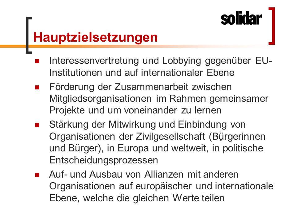 Hauptzielsetzungen Interessenvertretung und Lobbying gegenüber EU- Institutionen und auf internationaler Ebene Förderung der Zusammenarbeit zwischen M