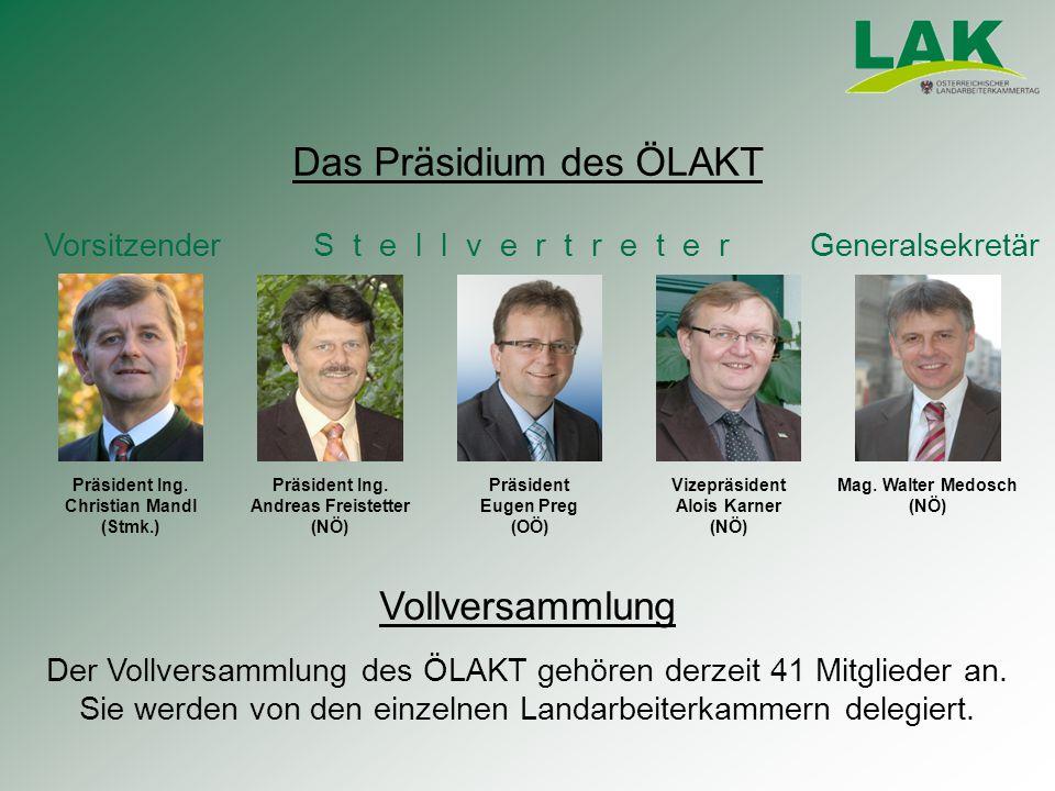 Das Präsidium des ÖLAKT Vorsitzender S t e l l v e r t r e t e r Generalsekretär Vollversammlung Der Vollversammlung des ÖLAKT gehören derzeit 41 Mitglieder an.