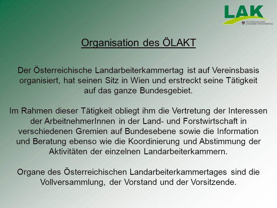 Der Österreichische Landarbeiterkammertag ist auf Vereinsbasis organisiert, hat seinen Sitz in Wien und erstreckt seine Tätigkeit auf das ganze Bundesgebiet.