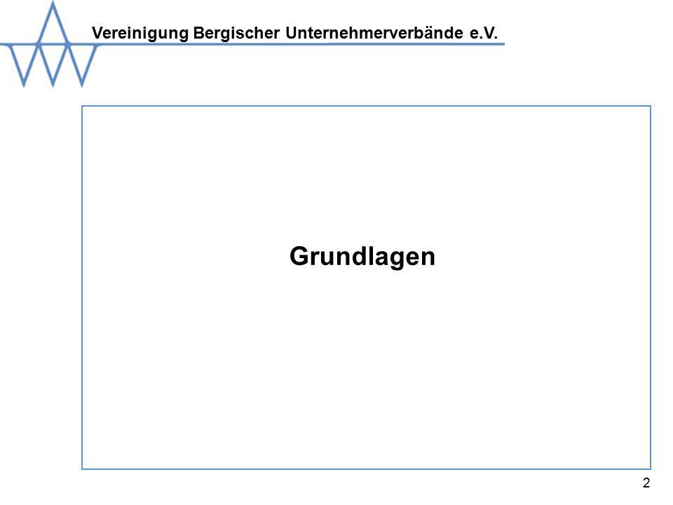 Vereinigung Bergischer Unternehmerverbände e.V. 2 Grundlagen