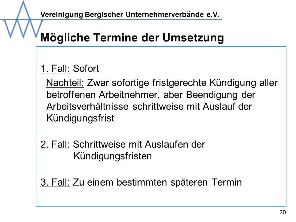 Vereinigung Bergischer Unternehmerverbände e.V.20 Mögliche Termine der Umsetzung 1.