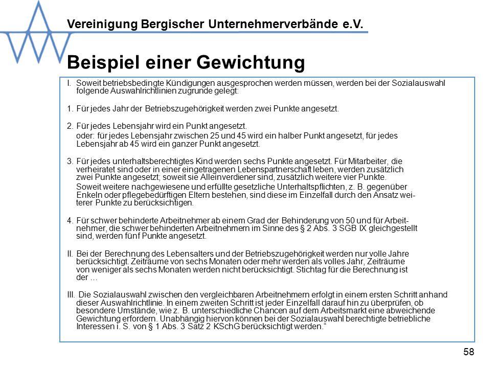Vereinigung Bergischer Unternehmerverbände e.V.58 Beispiel einer Gewichtung I.