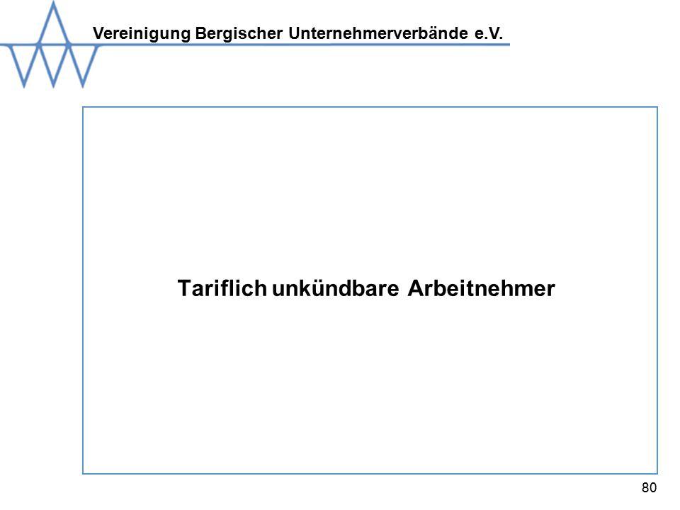Vereinigung Bergischer Unternehmerverbände e.V. 80 Tariflich unkündbare Arbeitnehmer