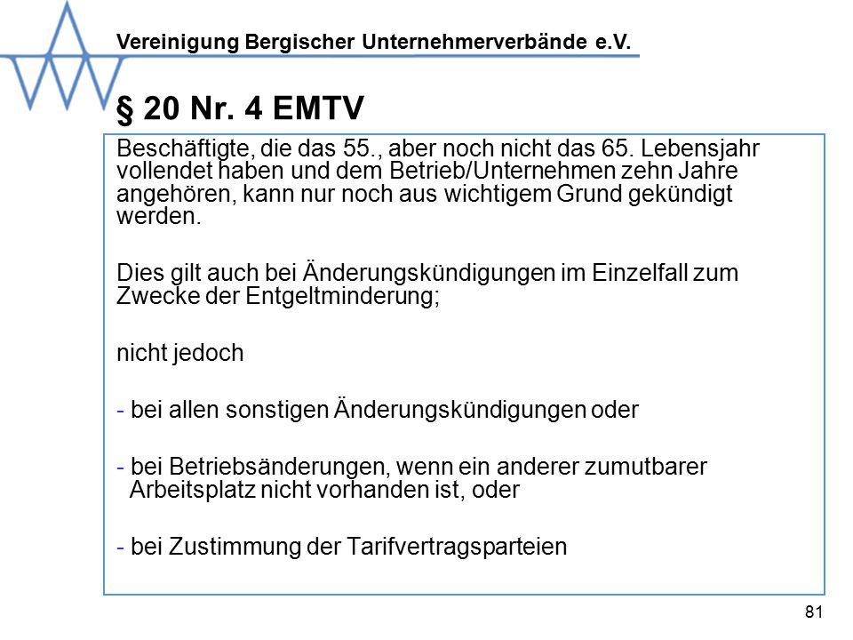 Vereinigung Bergischer Unternehmerverbände e.V.81 § 20 Nr.