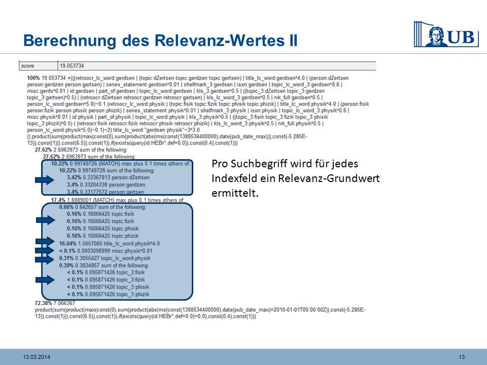 1313.03.2014 Berechnung des Relevanz-Wertes II Pro Suchbegriff wird für jedes Indexfeld ein Relevanz-Grundwert ermittelt.