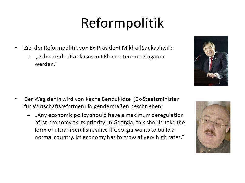"""Reformpolitik Ziel der Reformpolitik von Ex-Präsident Mikhail Saakashwili: – """"Schweiz des Kaukasus mit Elementen von Singapur werden."""" Der Weg dahin w"""
