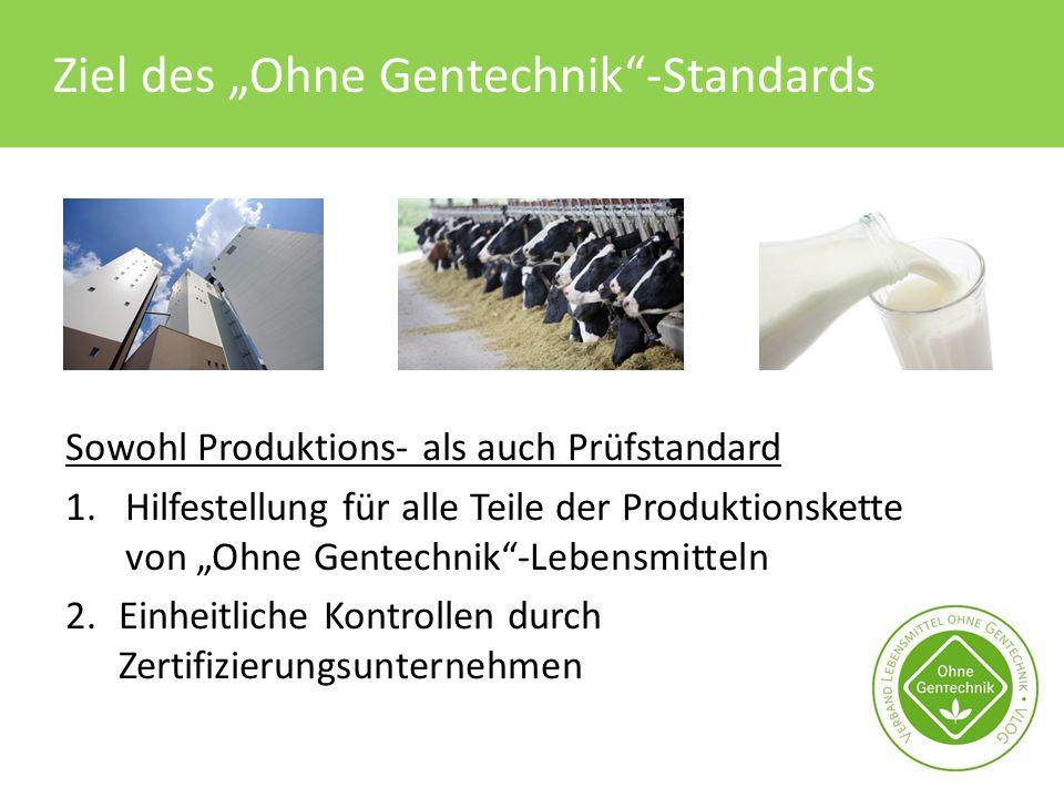 """Ziel des """"Ohne Gentechnik""""-Standards Sowohl Produktions- als auch Prüfstandard 1.Hilfestellung für alle Teile der Produktionskette von """"Ohne Gentechni"""