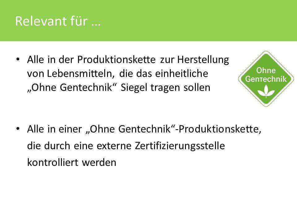 """Relevant für … Alle in einer """"Ohne Gentechnik""""-Produktionskette, die durch eine externe Zertifizierungsstelle kontrolliert werden Alle in der Produkti"""