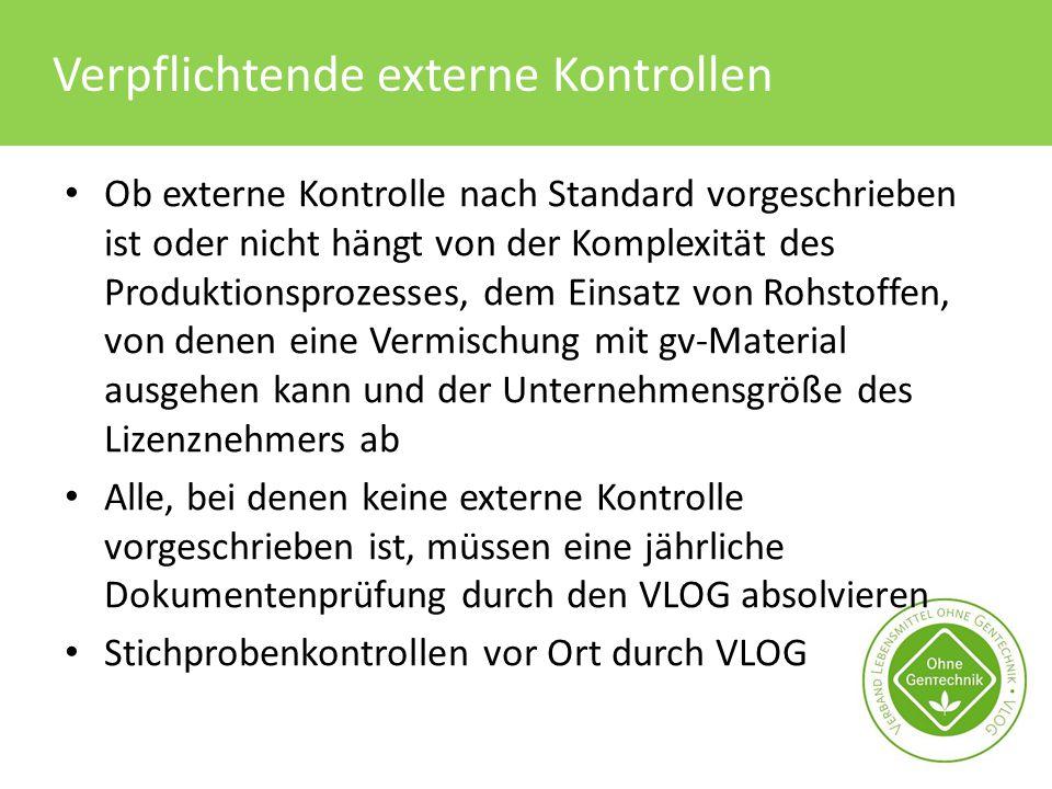 Verpflichtende externe Kontrollen Ob externe Kontrolle nach Standard vorgeschrieben ist oder nicht hängt von der Komplexität des Produktionsprozesses,