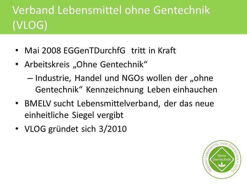 """Verband Lebensmittel ohne Gentechnik (VLOG) Mai 2008 EGGenTDurchfG tritt in Kraft Arbeitskreis """"Ohne Gentechnik"""" – Industrie, Handel und NGOs wollen d"""