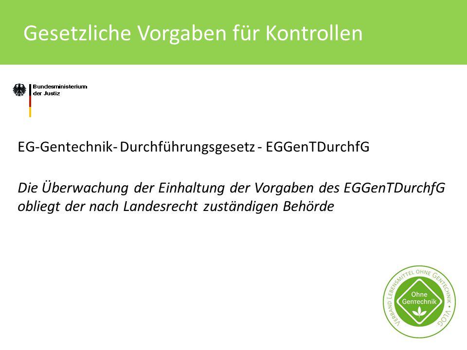 Gesetzliche Vorgaben für Kontrollen EG-Gentechnik- Durchführungsgesetz - EGGenTDurchfG Die Überwachung der Einhaltung der Vorgaben des EGGenTDurchfG o