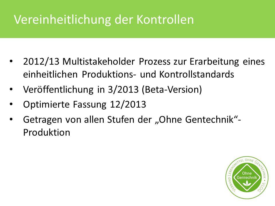 Vereinheitlichung der Kontrollen 2012/13 Multistakeholder Prozess zur Erarbeitung eines einheitlichen Produktions- und Kontrollstandards Veröffentlich