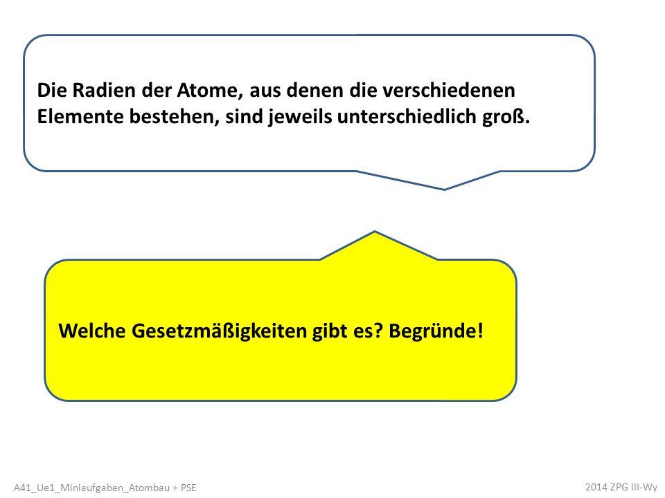 Welche Gesetzmäßigkeiten gibt es? Begründe! Die Radien der Atome, aus denen die verschiedenen Elemente bestehen, sind jeweils unterschiedlich groß. 20