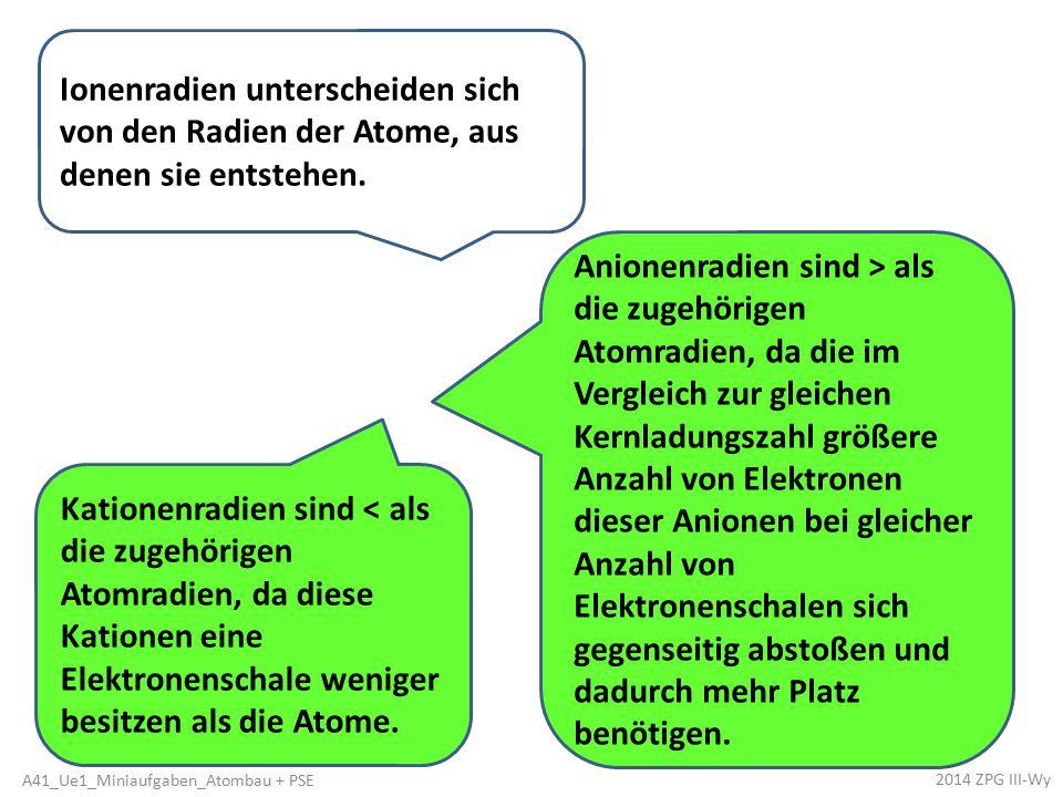 Kationenradien sind < als die zugehörigen Atomradien, da diese Kationen eine Elektronenschale weniger besitzen als die Atome. Anionenradien sind > als