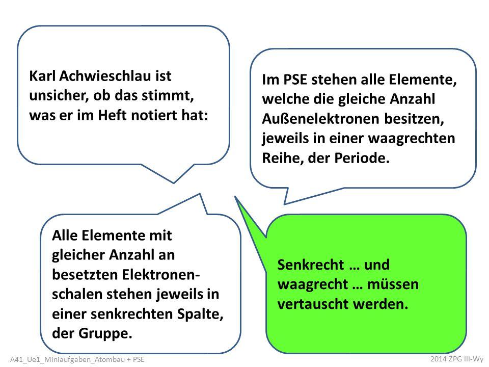 Karl Achwieschlau ist unsicher, ob das stimmt, was er im Heft notiert hat: Alle Elemente mit gleicher Anzahl an besetzten Elektronen- schalen stehen j