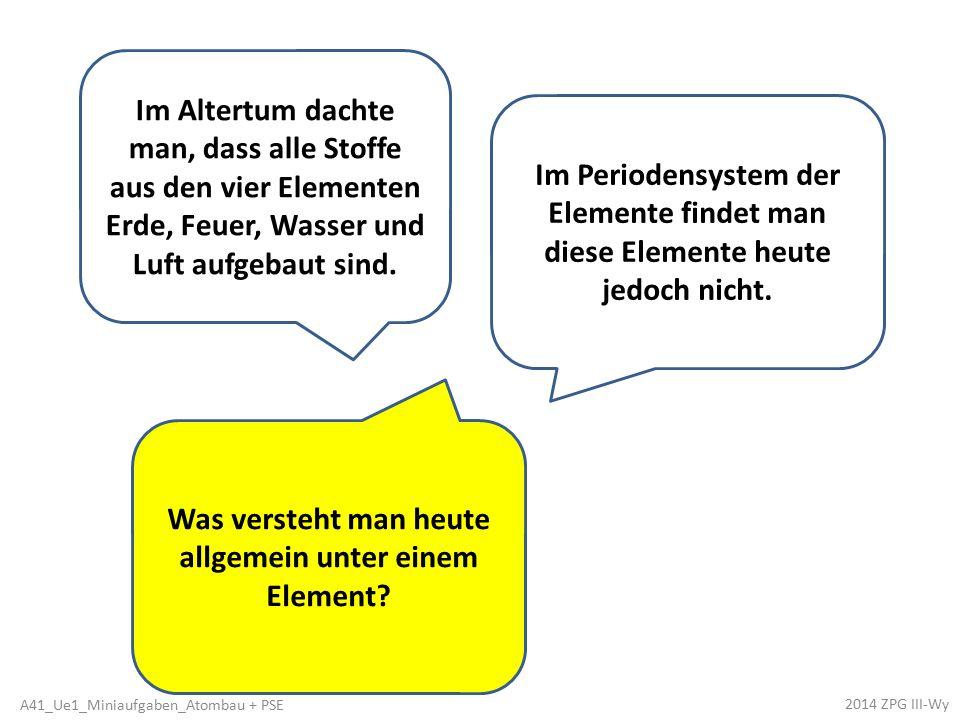 Im Periodensystem der Elemente findet man diese Elemente heute jedoch nicht.