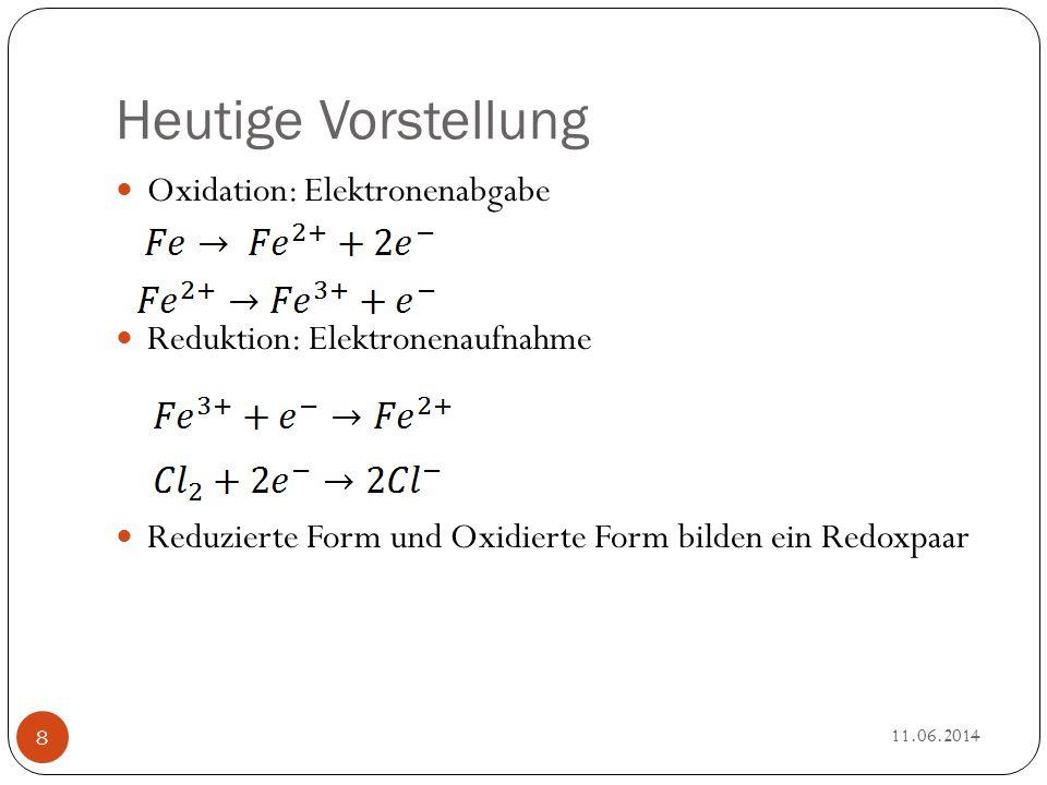Heutige Vorstellung Oxidation: Elektronenabgabe Reduktion: Elektronenaufnahme Reduzierte Form und Oxidierte Form bilden ein Redoxpaar 11.06.2014 8