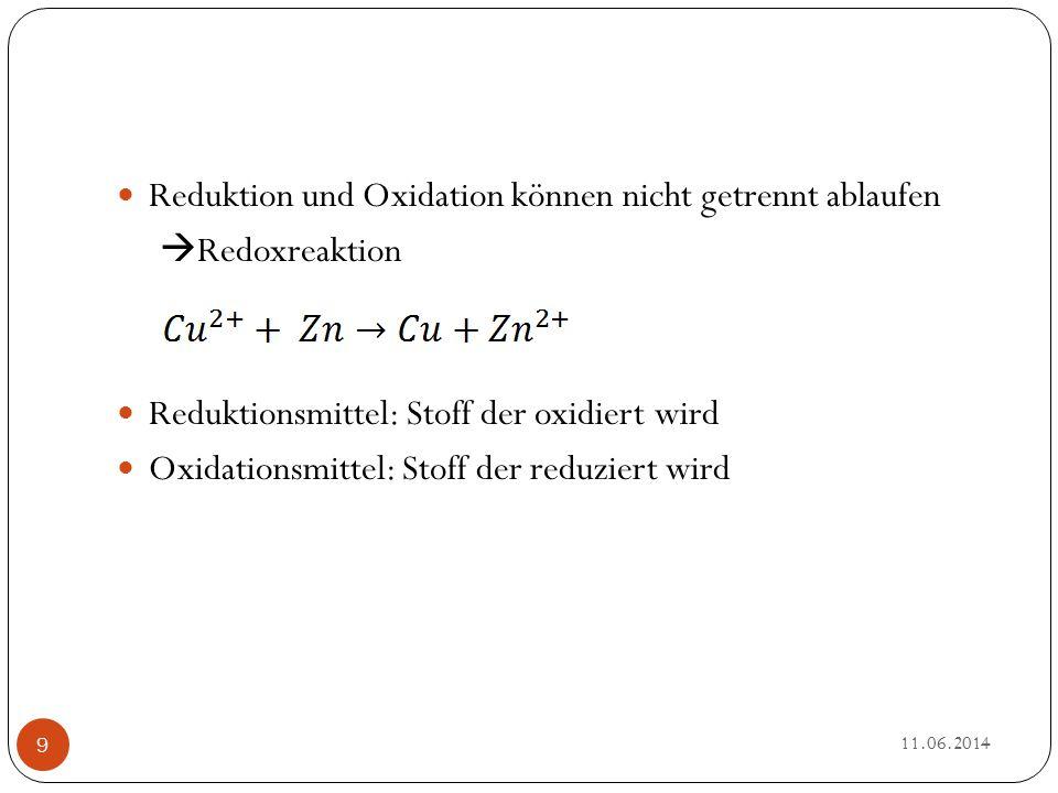 Der Zusammenhang Oxidationszahl und Redoxreaktion Bei einer Reduktion verringert sich die Oxidationszahl Bei einer Oxidation erhöht sich die Oxidationszahl 11.06.2014 10