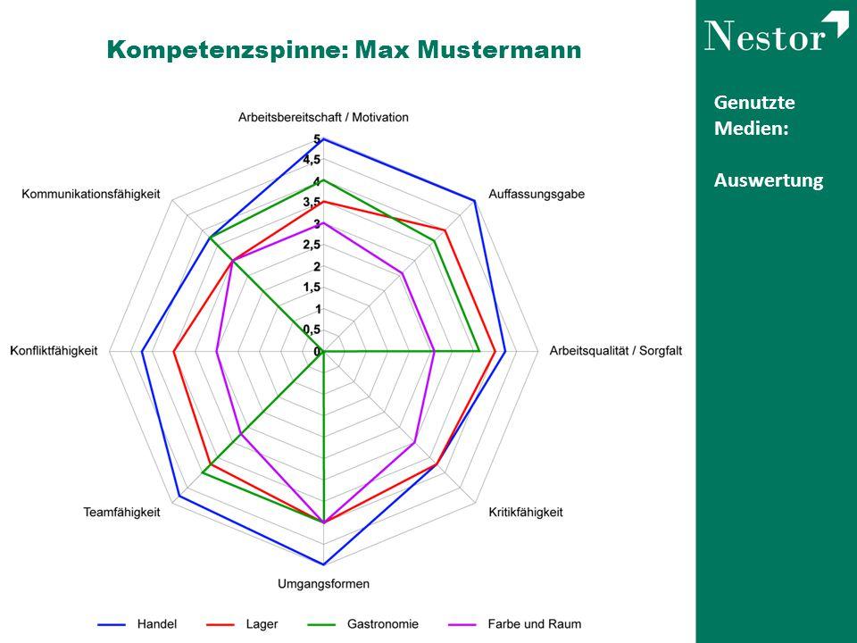 Genutzte Medien: Auswertung Kompetenzspinne: Max Mustermann