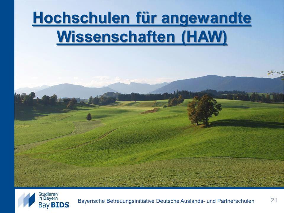 Hochschulen für angewandte Wissenschaften (HAW) 21