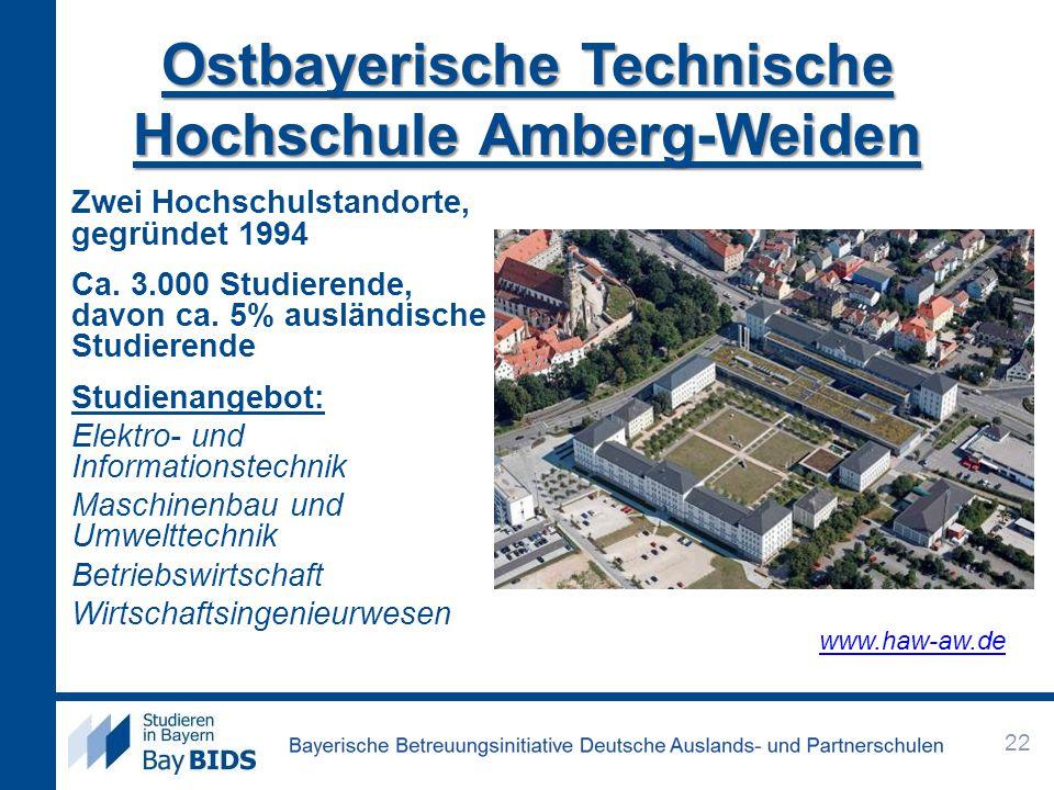 Ostbayerische Technische Hochschule Amberg-Weiden Zwei Hochschulstandorte, gegründet 1994 Ca. 3.000 Studierende, davon ca. 5% ausländische Studierende