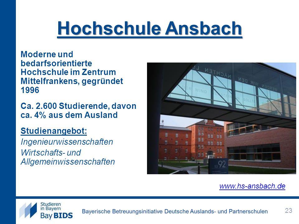 Hochschule Ansbach Moderne und bedarfsorientierte Hochschule im Zentrum Mittelfrankens, gegründet 1996 Ca. 2.600 Studierende, davon ca. 4% aus dem Aus