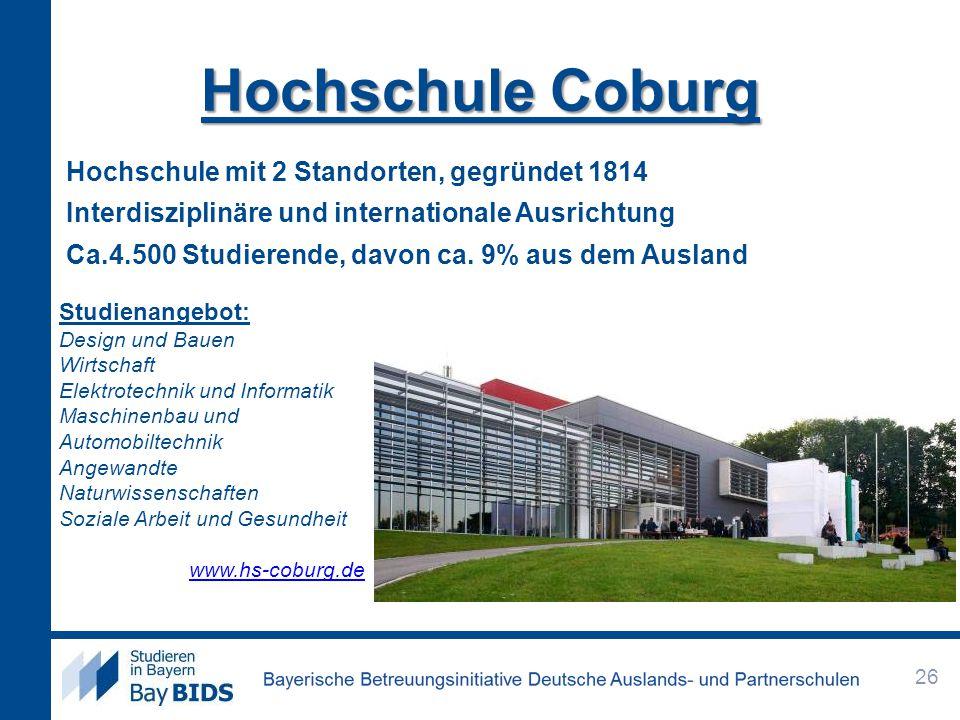 Hochschule Coburg Hochschule mit 2 Standorten, gegründet 1814 Interdisziplinäre und internationale Ausrichtung Ca.4.500 Studierende, davon ca. 9% aus