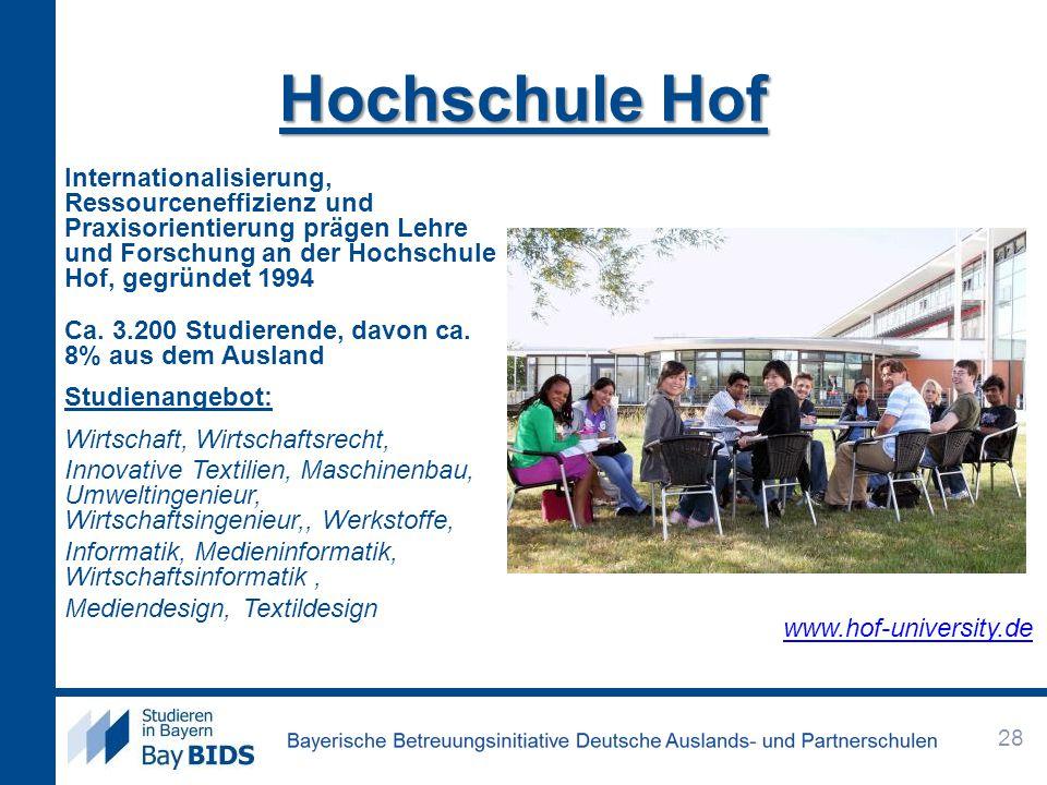 Hochschule Hof Internationalisierung, Ressourceneffizienz und Praxisorientierung prägen Lehre und Forschung an der Hochschule Hof, gegründet 1994 Ca.
