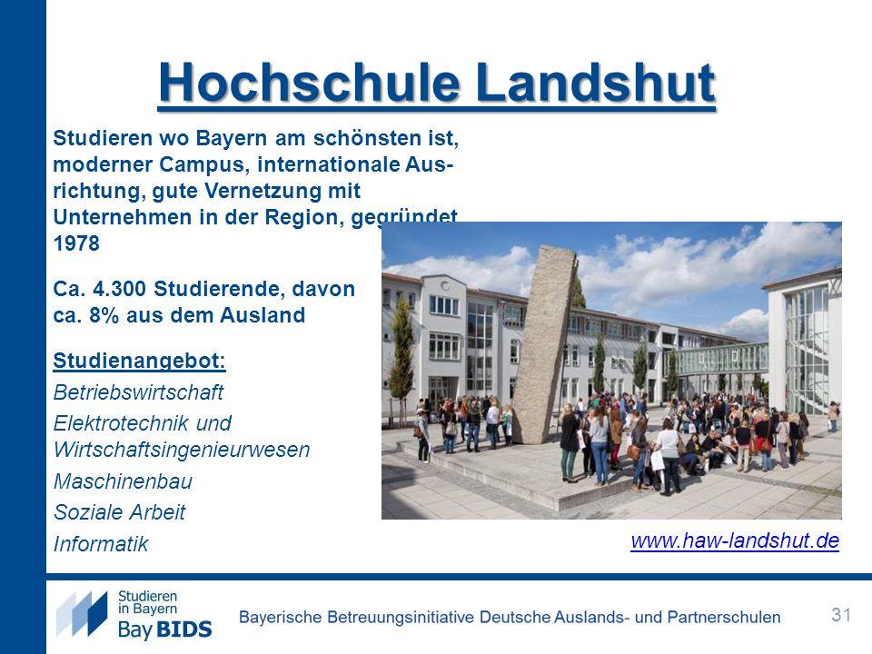Hochschule Landshut Studieren wo Bayern am schönsten ist, moderner Campus, internationale Aus- richtung, gute Vernetzung mit Unternehmen in der Region