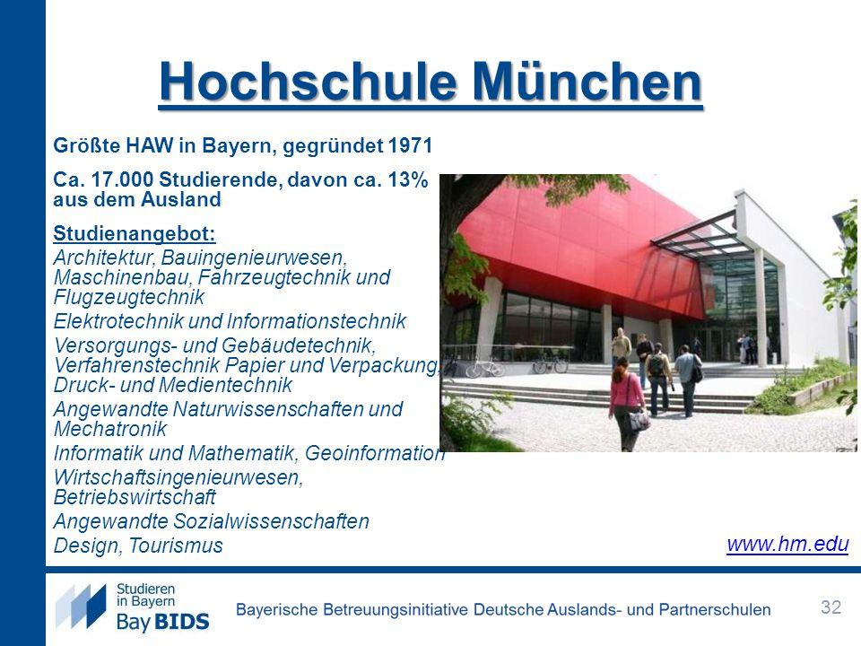 Hochschule München Größte HAW in Bayern, gegründet 1971 Ca. 17.000 Studierende, davon ca. 13% aus dem Ausland Studienangebot: Architektur, Bauingenieu